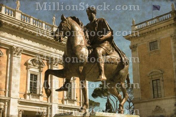 Vintage image of the Equestrian Statue of Marcus Aurelius in Campidoglio square of Rome, Italy