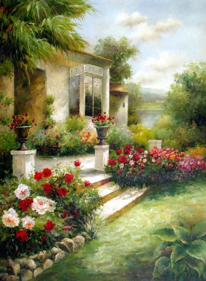 Porch Garden - Original Oil Painting Artist: Unknown Size: 48 High x 36 Wide Canvas Hand-painted, original oil painting on unstretched canvas.