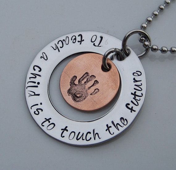 Hand Stamped Jewelry - Teacher Necklace - Nanny Necklace - Personalized Jewelry on Etsy, $28.00