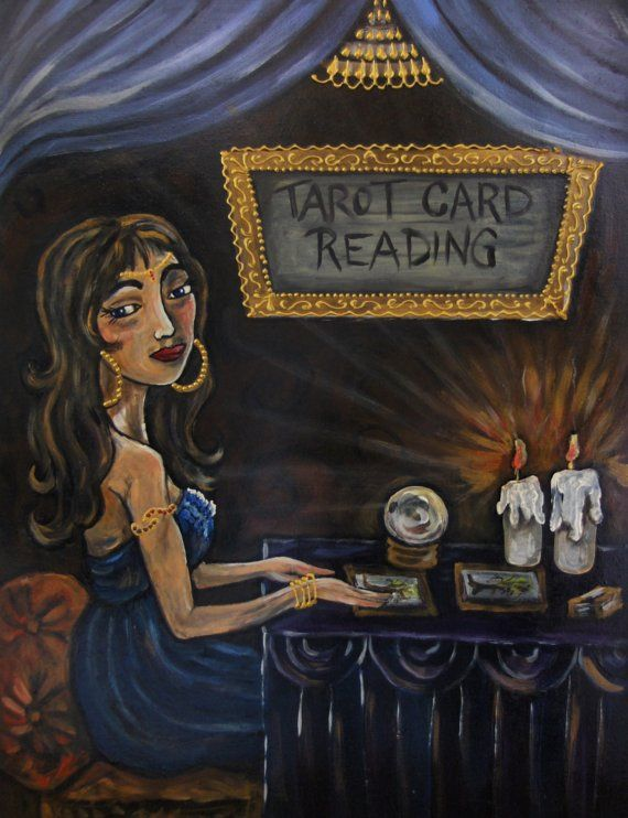 Tia The Tarot Card Reader Acrylic Painting On Hardboard