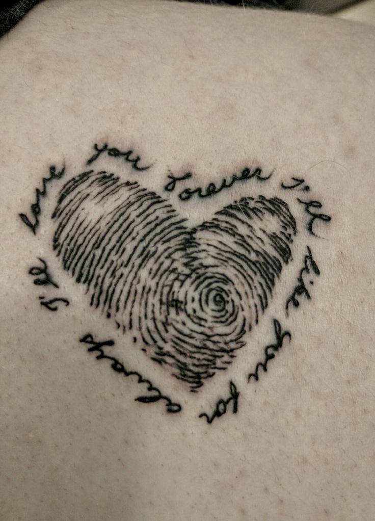 I like this idea just with three thumbs prints making up the heart mom dad and sis I want this now with different font great idea tho