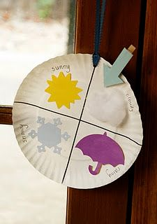Weather chart. Everyday look outside and put the arrow where it belongs (cloudy, sunny, snowy, rainy). Sing a fun little song while doing it too!     Weather Song: (to the tune of london bridges)  Whats the weather like today? Like today? Like today?  Whats the weather like today? On this Wednesday? (fill in the day of the week)