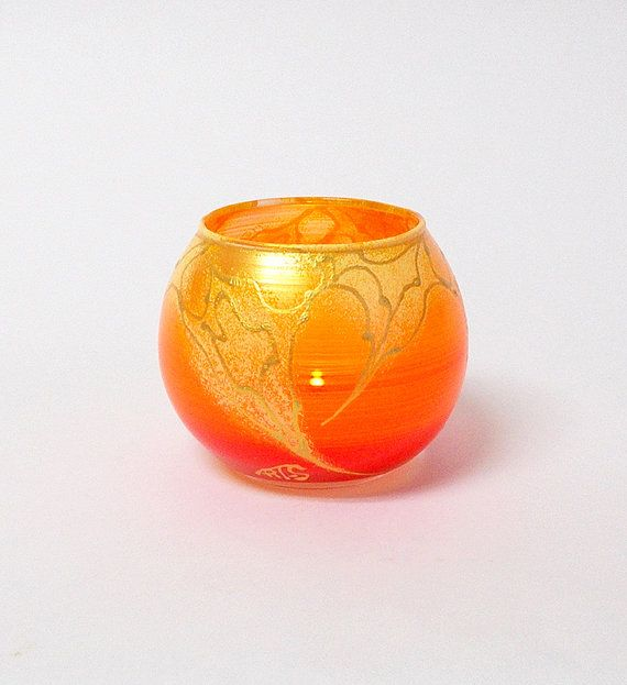 Orange Candle Holder Hand Painted Glass by HandPaintedGlassArtS
