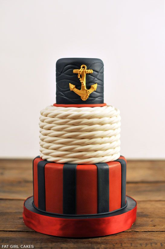 Nautical Cake by Fat Girl Cakes  |  TheCakeBlog.com http://thecakeblog.com/2013/04/classic-nautical-cake.html