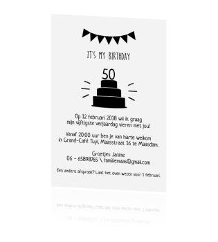 Helemaal van nu! Deze uitnodiging voor je vijftigste verjaardag, met slingers en leuk tekstvlak.