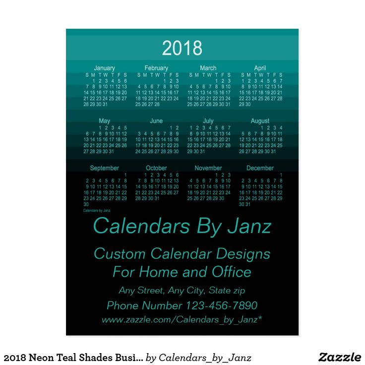 2018 Neon Teal Shades Business Calendar by Janz Postcard