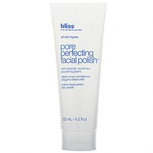 Bliss Pore Perfecting Facial Polish - 4.2 oz - This Facial Polish contains naturally round skin scrubbing grains to gently exfoliate. It clears away complexion clogging dead cells and makes large pores less visible.