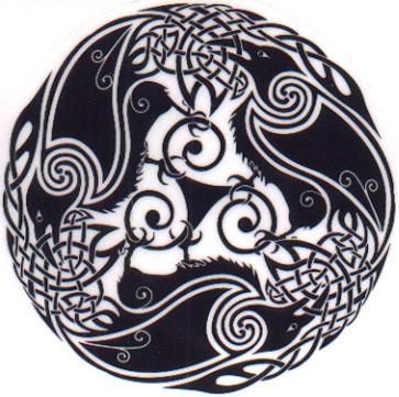 "Celtic Raven Knotwork.                   ""The three ravens intertwined are symbolic of the celtic goddess Morrigan, which represents different aspects of womanhood and female power"""