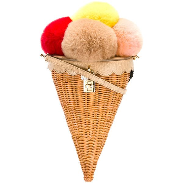 Dolce & Gabbana ice cream cone shoulder bag found on Polyvore featuring bags, handbags, shoulder bags, embellished handbags, colorful handbags, beige shoulder bag, flower purse and dolce gabbana handbags