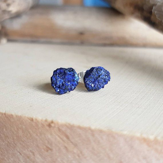 Raw Azurite Stud Earrings Natural Raw Stones Cobalt Blue Stone Earrings Azurite Stone Studs Healing Stones