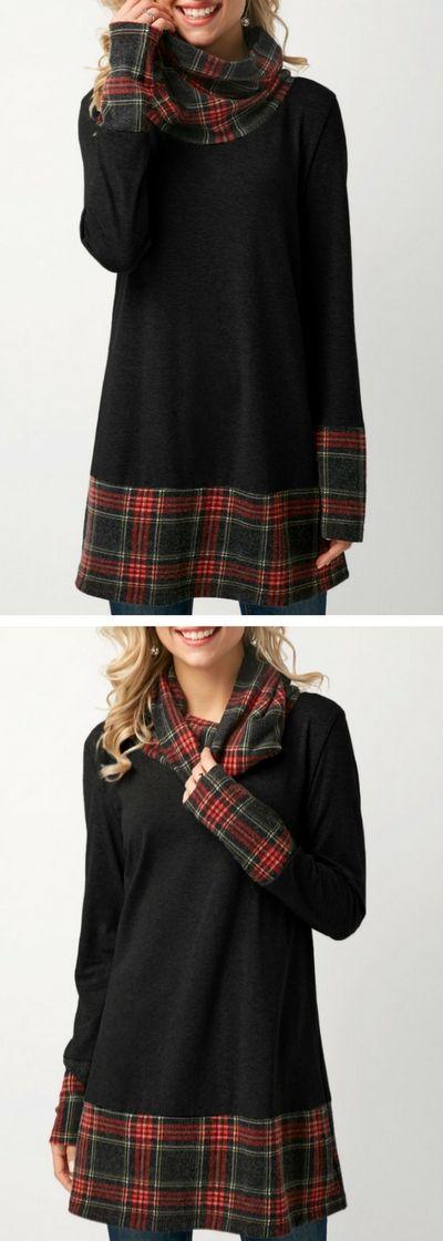 Black Cowl Neck Patchwork Plaid T Shirt