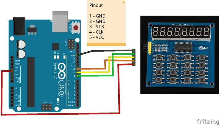 Arduino and QYF-TM1638 module example #arduino