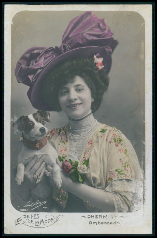 Dherminy Lady Ambassadeur Edwardian Theatre Fashion dress 1910s photo postcard