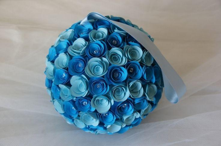 Sfera+Rose+di+Carta+Mix+Blu+con+Strass++Diam+20+Cm+di+PaperLoveFantasy+su+DaWanda.com