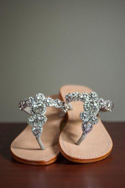 Sparkly sandal bridal shoe idea - sandals with silver crystal embellishments {Julia Jane Studios}