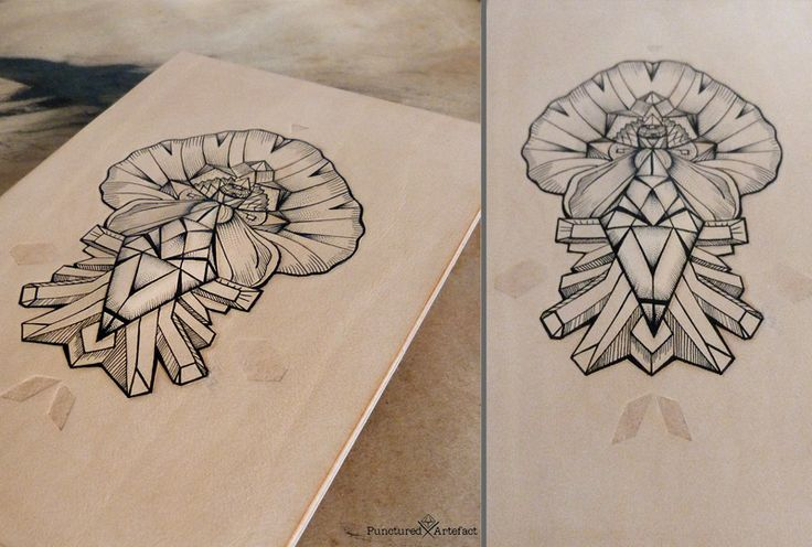 Line Work Art : Tattooed leather art geometric poppy with crystals