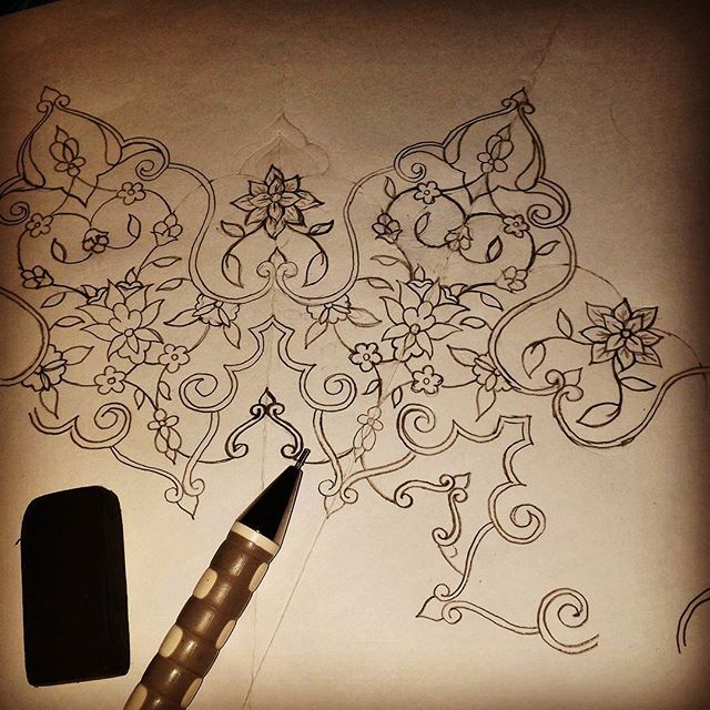 Drawing chinoiserie mandala style drawing