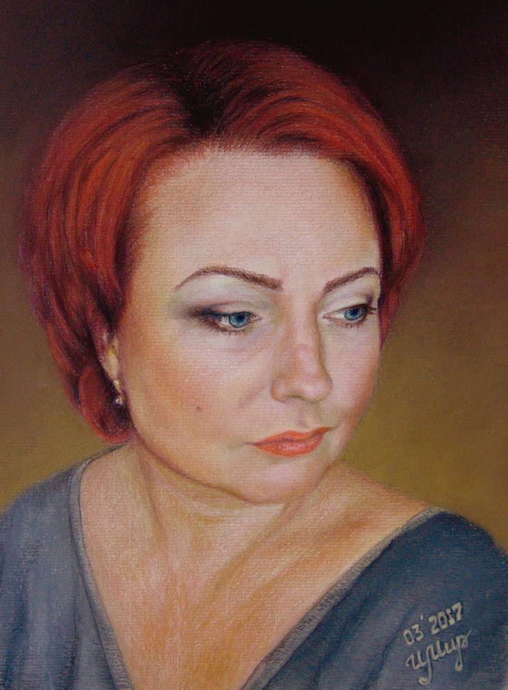 Pastel painting, Pastelmat, 40x30 cm Portrait of my niece Elizabeth for her fiftieth birthday