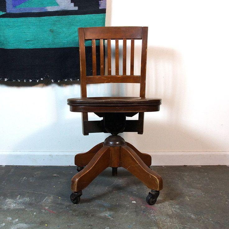 Vintage Wooden Swivel Office Desk Chair Adjustable