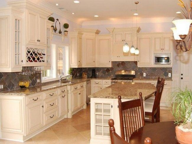 Image Result For Kitchen With Off White Cabinets