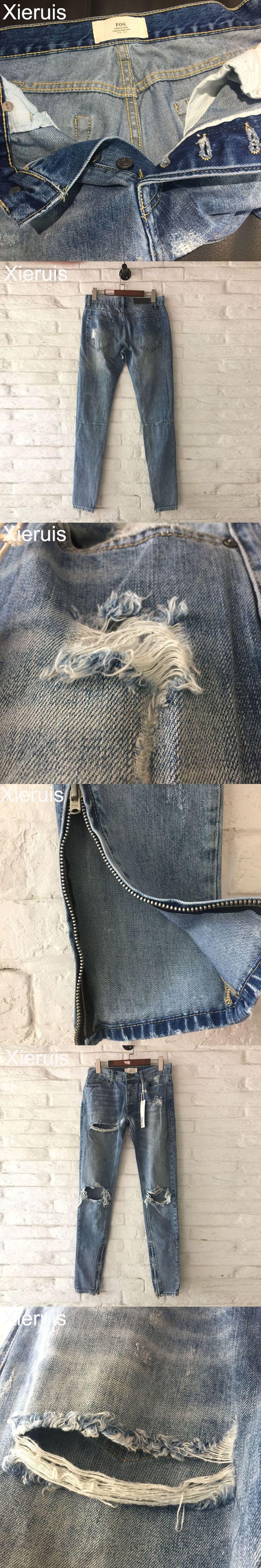 XIERUIS 2017 Autumn New Collection Two Ripped Jeans Men Ankle Zipper Destroyed Denim Pants Fog Fear Of God Hip-Hop Jeans Men