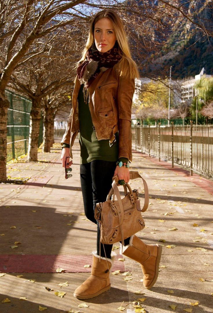 fall! ugg boots, skinny pants, olive shirt and caramel leather jacket