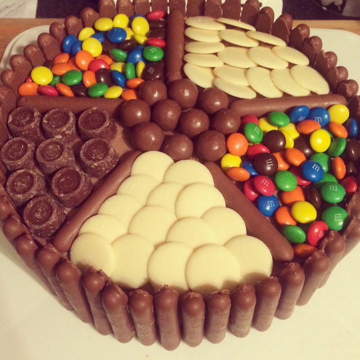 Chocolate sponge cake with chocolate fingers, maltesers, m&ms, mini rolos and White chocolate buttons.