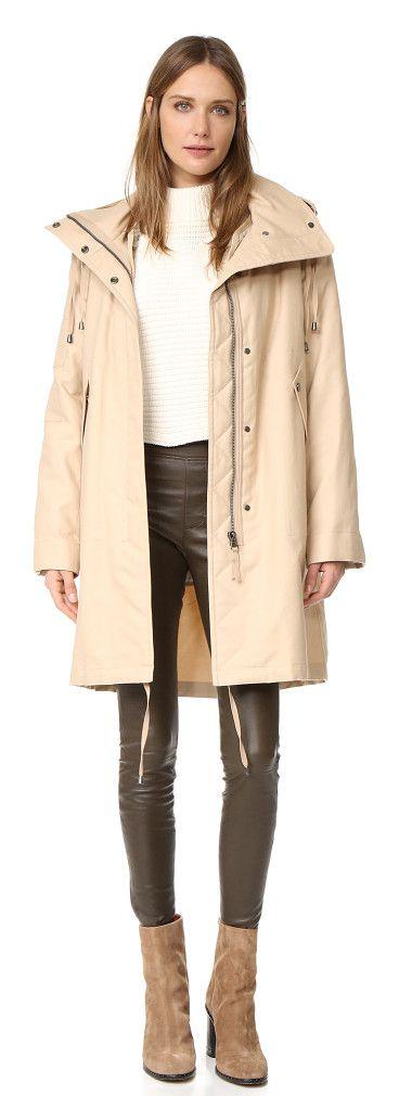 Shearling fur lined parka jacket