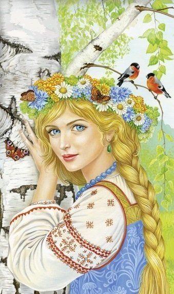 Оригинал схемы вышивки «русская красавица»