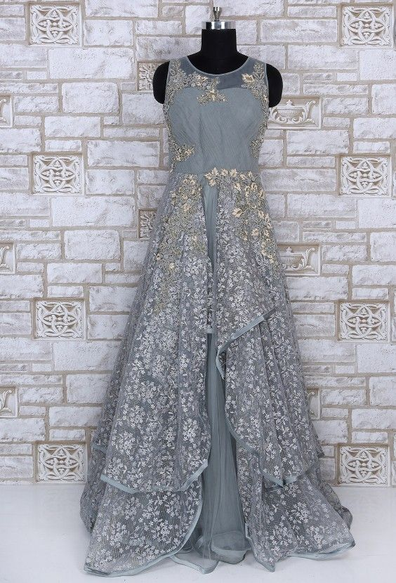 460fbecf1582 Grey Net Gown with hand embroidery work | Indo-Western Gown & Dresses in  2019 | Blouse designs, Net gowns, Bridal outfits