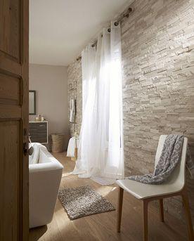 Plaquette de parement pierre naturelle gris/beige Cottage. #ideedeco #mur #homedecor