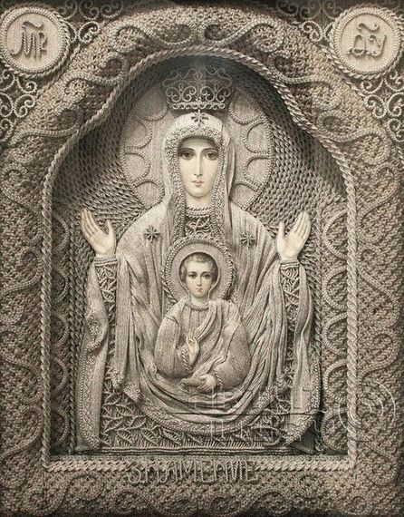 """""""Ukrainian artist Vladimir Denshchikov creates mind-blowing religious icons made almost entirely of linen thread. except for the faces and the hands. Each thread is pulled from pure linen and hand knotted. Each piece takes 3-6 months to create!"""""""
