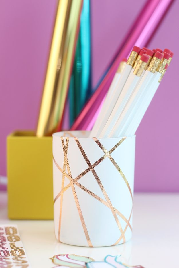 Cheap Crafts To Make and Sell - Easy Rose Gold Foiled Pencil Cup - Inexpensive Ideas for DIY Craft Projects You Can Make and Sell On Etsy, at Craft Fairs, Online and in Stores. Quick and Cheap DIY Ideas that Adults and Even Teens Can Make on A Budget http://diyjoy.com/cheap-crafts-to-make-and-sell