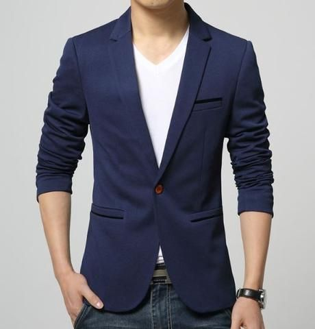 Mens American slim fit fashion cotton blazer Suit Jacket black blue beige plus size M to 5XL Male blazers Mens coat Wedding dress - All In One Place With Us - 4