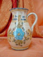 Vintage OLARIA DE AMANCIL Art Pottery SMALL PITCHER Hand Painted TUSCAN STYLE. Marked on the bottom is 'Olaria de Almancil'.