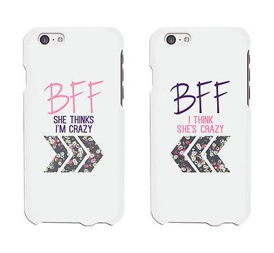 I Think She's Crazy & She Thinks I'm Crazy BFF Phone Cases Matching iphone 4 5 5C 6 6+ / Galaxy S3 S4 S5 / LG G3 / HTC One M8 Cases - 100% brand new - Order includes 2 x cases - for two friends - Suit
