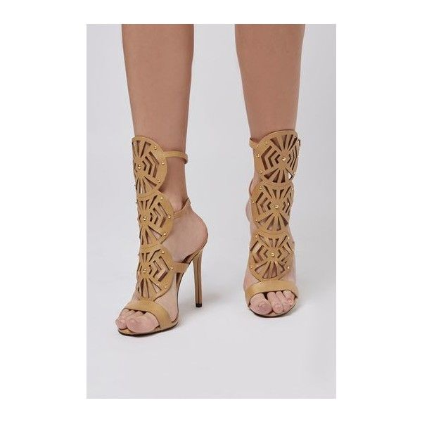 TopShop Ravela Laser Cut Sandals (155 BRL) ❤ liked on Polyvore featuring shoes, sandals, camel, strap heel sandals, camel sandals, double buckle sandals, topshop and strappy heel sandals