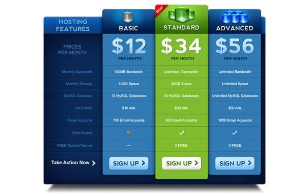 55+ Best Pricing Table UI Element PSD Templates -Design Bump