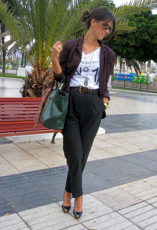 Mango in Blazers, Zara in T Shirts, Mango in Harem / Baggy Pants, Zara in Heels / Wedges, Blanco in Bags, DIOR in Glasses / Sunglasses