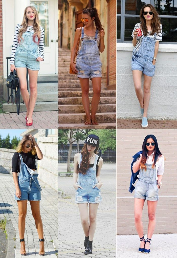 4b8e48335 Usando macaquinho jeans | Outfits | Overall shorts outfit, Denim overall  dress, Jumper shorts