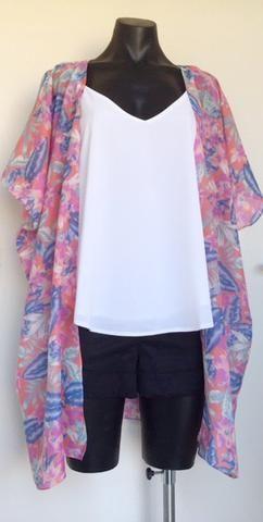 Coral Floral Print Kimono