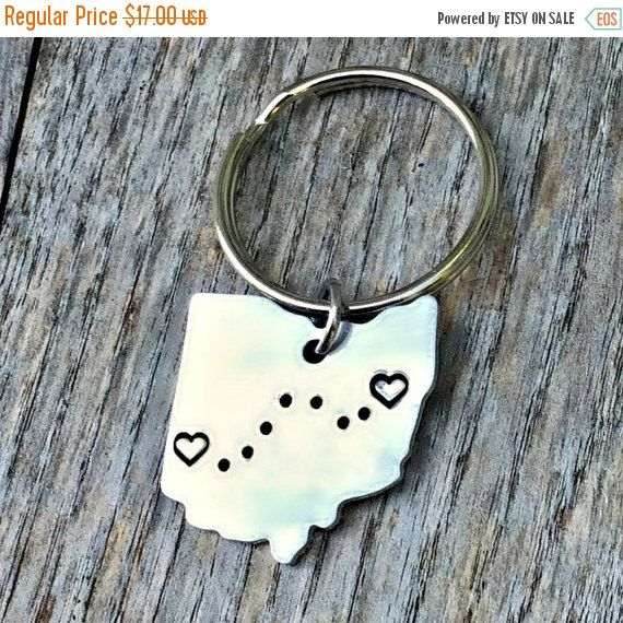 Long Distance, Deployment Gift, Going Away Present, Ohio, Home, Hand Stamped Key Chain, Anniversary Gifts, Husband, Boyfriend, Personalized