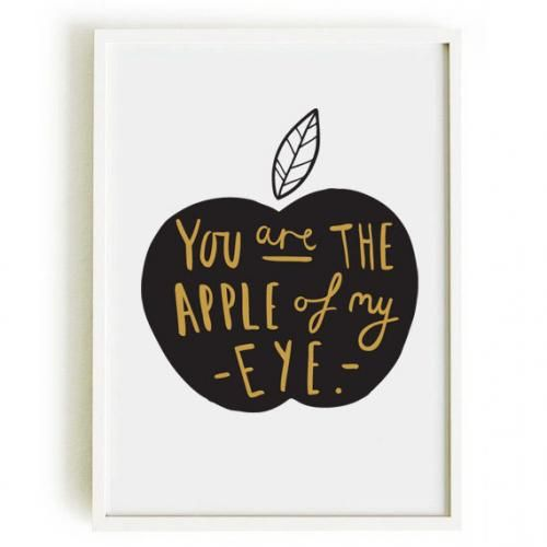 OLD ENGLISH CO. | APPLE OF MY EYE PRINT (BLACK & GOLD/WHITE BACKGROUND) | A3 アートプリント/ポスター
