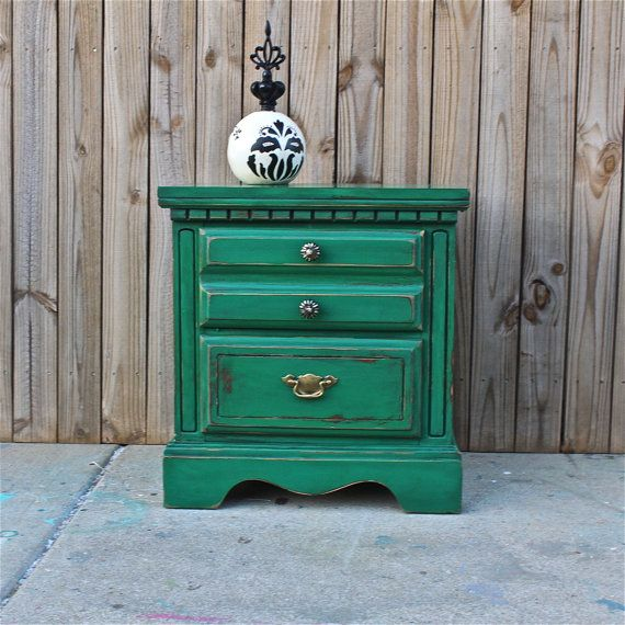 Green Nightstand/ Side Table/ Bedroom Furniture/ by AquaXpressions, $125.00