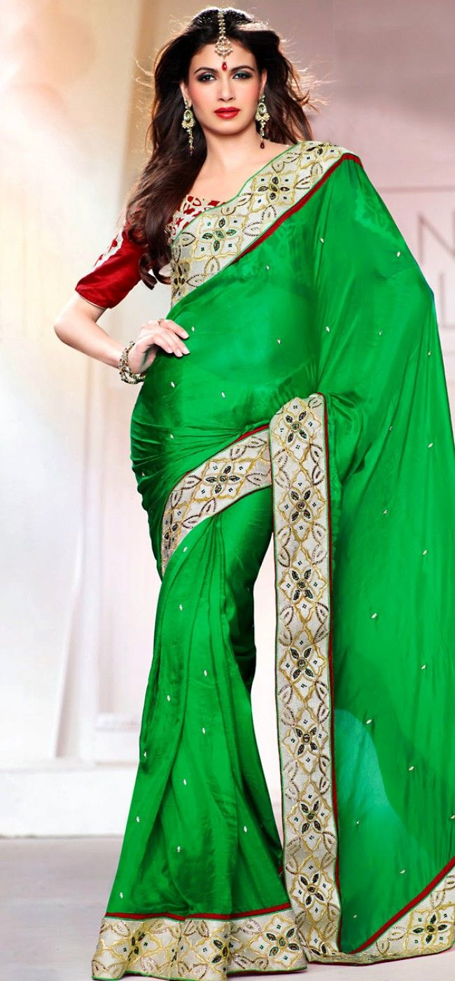 Wedding collection green and red saree: KSR2564