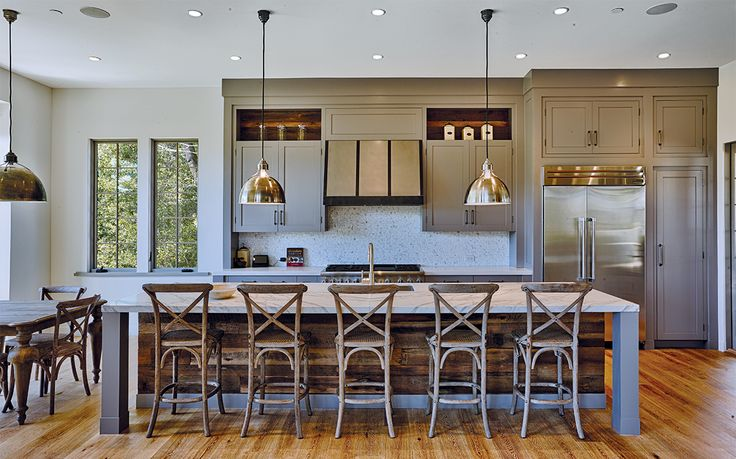 Urban Farmhouse Kitchen Featuring Reclaimed Wood Island Grey Cabinets And Pendant Lighting Wide