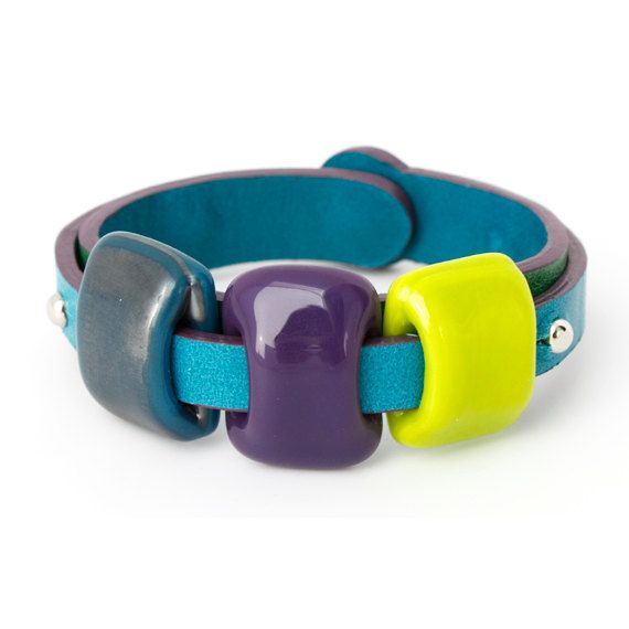 Leather bracelet with glass  Intuition DUO by boldcolorglass, $114.30