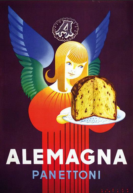 Vintage Italian Posters ~ #illustrator #Italian #posters ~ By Lucien Bertaux, 1955, Alemagna Panettoni.