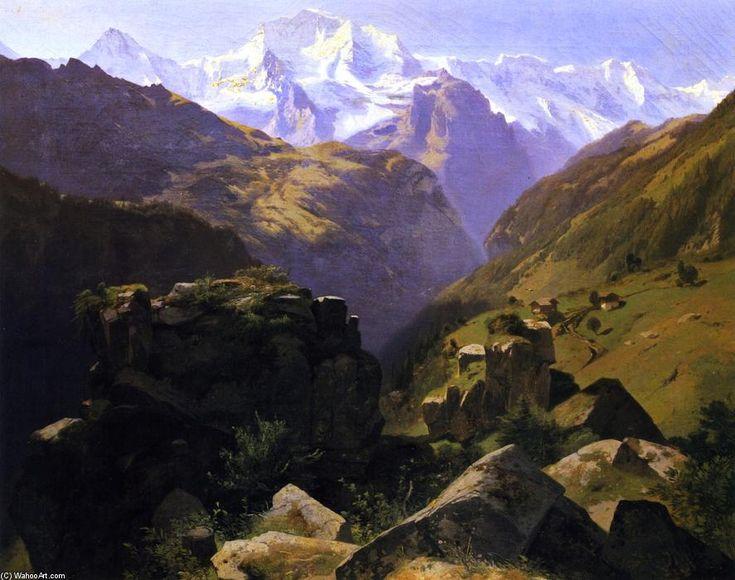 Un point de vue sur le massif du Jungfrau vu d en haut, Interlaken, huile sur toile de Alexandre Calame (1810-1864, Switzerland)