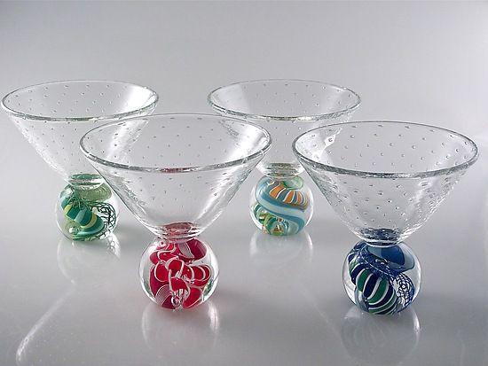 """Marbletini"" Art Glass Goblet set - by designer Michael Egan | Artful Home"